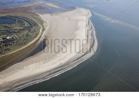 Aerial coastal view of the shore of Ameland Frisian Island The Netherlands