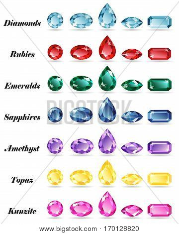 Seven sets of precious stones of different cut - diamond ruby emerald sapphire amethyst topaz and kunzite. Isolated objects on a white background vector illustration