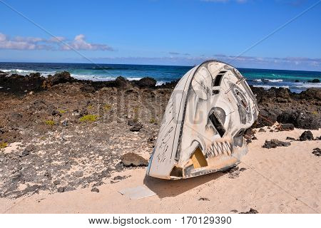 Sailboat Stranded On The Beach After A Storm