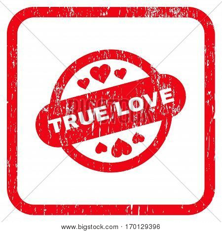 True Love Stamp Seal rubber watermark. Vector pictogram symbol inside rounded rectangle with grunge design and dust texture. Stamp seal illustration. Unclean red ink emblem on a white background.