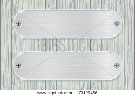 Metal plates on wooden background. Vector illustration