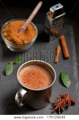 Cup of hot chocolate cinnamon sticks and Coconut palm sugar