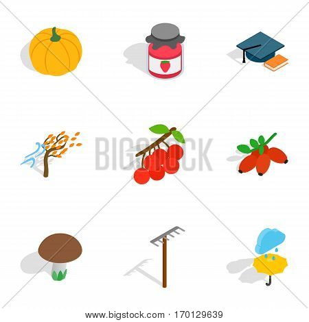 Autumn icons set. Isometric 3d illustration of 9 autumn vector icons for web