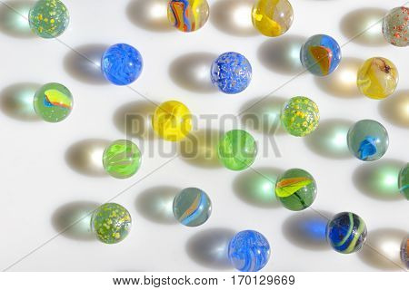 Macro marble balls with reflexions, close up