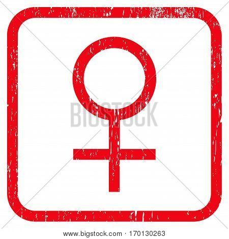 Venus Female Symbol rubber watermark. Vector icon symbol inside rounded rectangular frame with grunge design and scratched texture. Stamp seal illustration. Unclean red ink sign on a white background.