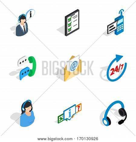 All day customer support icons set. Isometric 3d illustration of 9 all day customer support vector icons for web