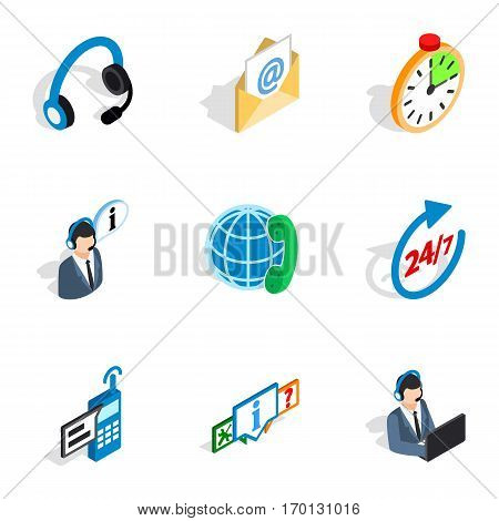 Contact and support icons set. Isometric 3d illustration of 9 contact and support vector icons for web