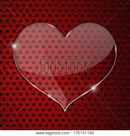 Heart glass plate on red perforated background. Vector illustration