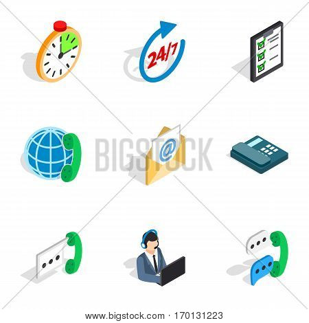 24 hours support icons set. Isometric 3d illustration of 9 24 hours support vector icons for web