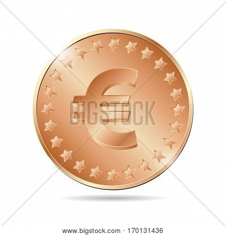 Vector Illustration Of A Bronze Coin With Euro Sign