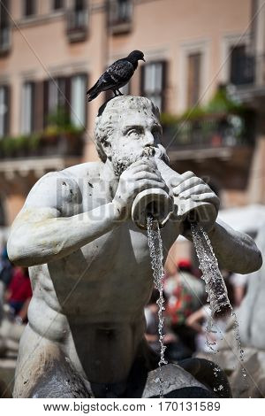 Classical Baroque fountain statue of a man with a crow on his head in Roma, Italy