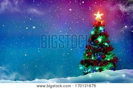 Christmas tree with decorations. Winter background.Merry Christmas and happy New Year greeting card with copy-space.