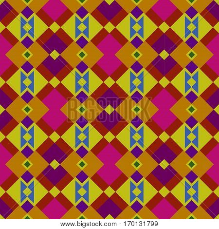 Ethnic boho pattern, bright rhombus seamless illustration