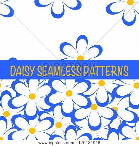 Set of seamless naive minimalistic patterns with little flowers. Floral print. Field of blue camomiles on white background. For wrapping fabric and other design. Vector illustration.