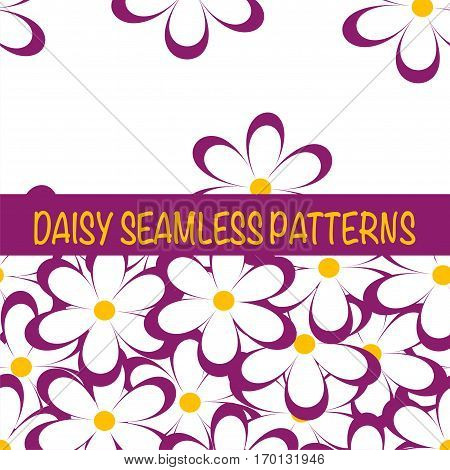 Set of seamless naive minimalistic patterns with little flowers. Floral print. Field of pink camomiles on white background. For wrapping fabric and other design. Vector illustration.