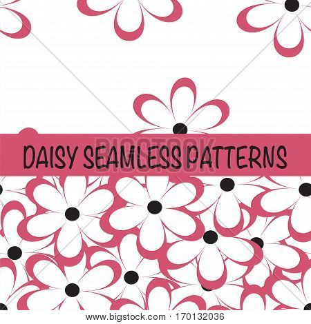 Set of seamless naive minimalistic patterns with little flowers. Floral print. Field of red camomiles on white background. For wrapping fabric and other design. Vector illustration.