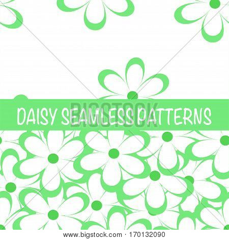 Set of seamless naive minimalistic patterns with little flowers. Floral print. Field of grass green camomiles on white background. For wrapping fabric and other design. Vector illustration.