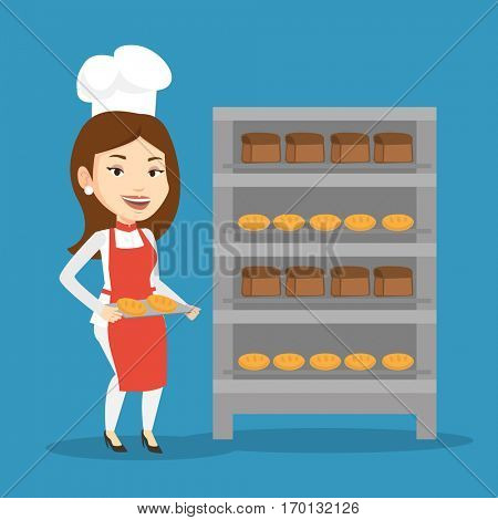 Happy young caucasian baker holding tray of bread in the bakery. Confident female baker standing near bread rack. Smiling baker holding baking tray. Vector flat design illustration. Square layout.