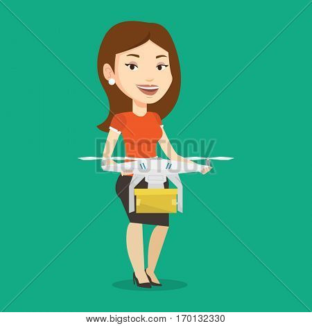 Caucasian woman controlling delivery drone with post package. Woman getting post package from delivery drone. Woman sending parcel with delivery drone. Vector flat design illustration. Square layout.