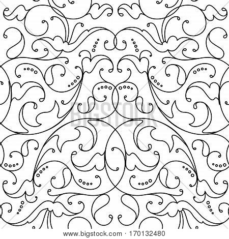 Damask seamless floral pattern. Royal wallpaper.black and white background. Graphic vector pattern