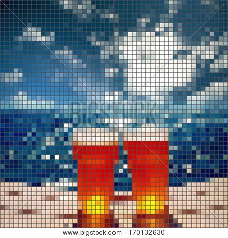 frosty glass of beer, vector mosaic sea
