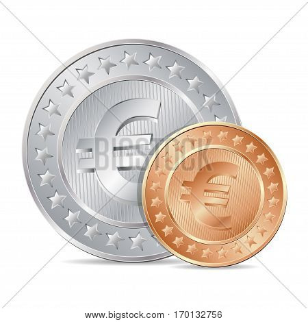 Vector Illustration Of Two Coins With Euro Sign