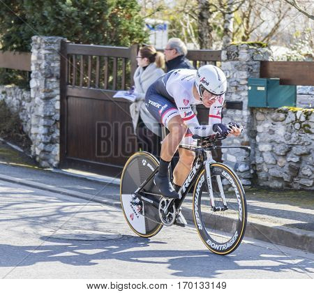 Conflans-Sainte-HonorineFrance-March 62016: The Belgian cyclist Edward Theuns of Trek-Segafredo Team riding during the prologue stage of Paris-Nice 2016.