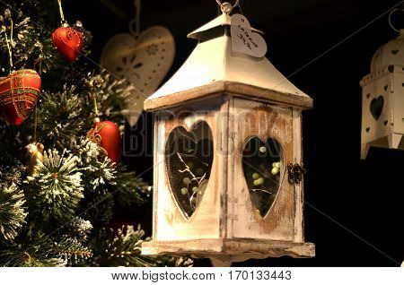 Detail Of Wooden Lantern With Heart For Christmas