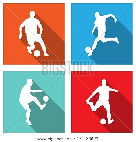soccer silhouettes on flat icons for web or mobile applications - vector