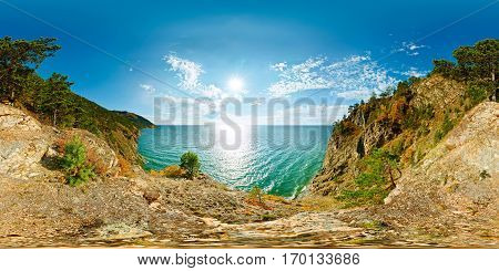 360 180 Spherical Panorama Of A Cliff Above The Water Baikal Sea