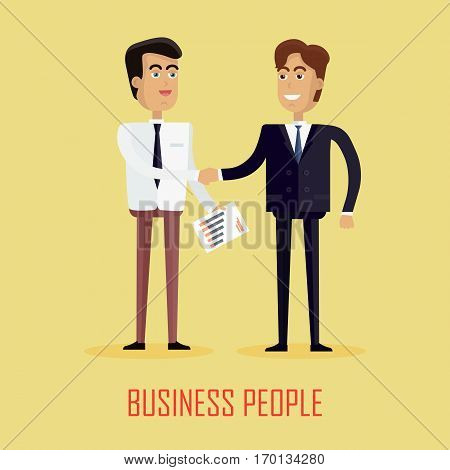 Two businessman shaking hands. Two businessman in business suit and tie. Business partners shaking hands as a symbol of unity. Illustration of business people shaking hands, finishing up a meeting.
