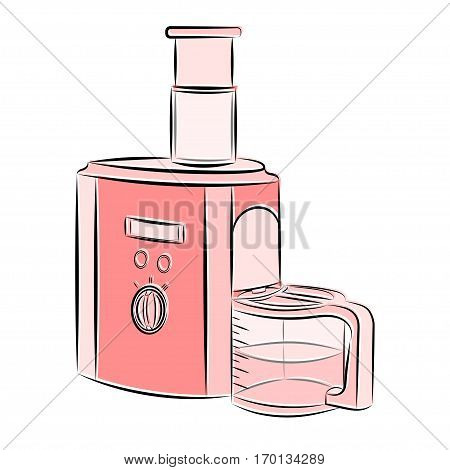 3d vector illustration juicer in pink and shades on a white background in the style of a sketch