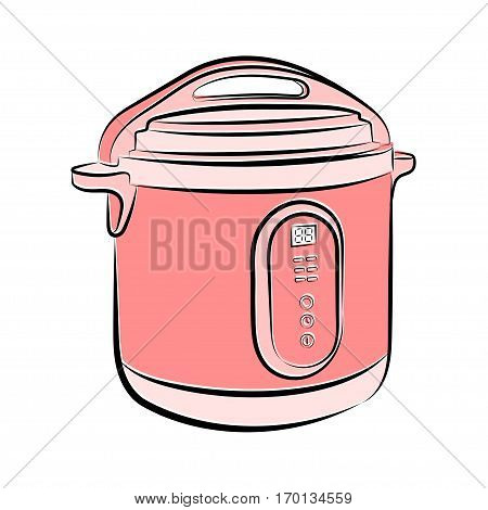 3d vector illustration Multicooker in pink and shades on a white background in the style of a sketch