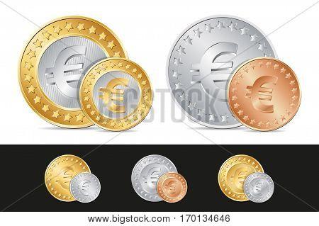 Vector Gold, Silver And Bronze Euro Coins