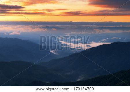 Sunrise Twilight Sky With Sea Of Clouds View