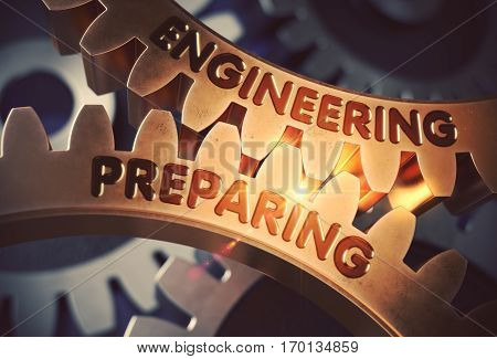 Golden Gears with Engineering Preparing Concept. Engineering Preparing - Technical Design. 3D Rendering.