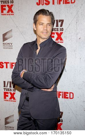Timothy Olyphant at the season 3 premiere screening of FX's 'Justified' held at the DGA Theater in Hollywood, USA on January 10, 2012.
