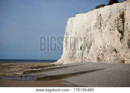 seaside with beach and chalk cliffs, Normandy, France