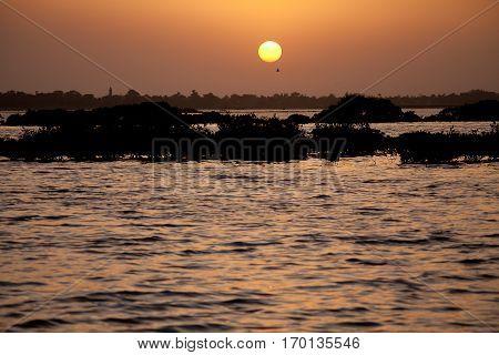Sunset on the Sine Saloum Delta Senegal