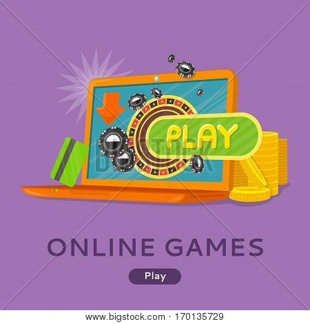 Online games conceptual web banner. Flat style vector. Laptop with playing roulette, chips on screen, credit card and gold coins near. For gambling online services sites design. On violet background