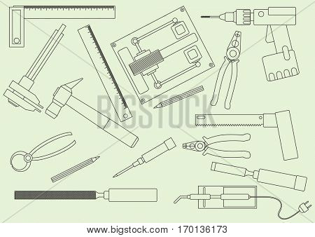 A set of hand tools for productive work. Production on the drawing model. Vector illustration.