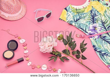 Summer street style. Design Spring Fashion girl clothes set, Accessories, cosmetic. Trendy sunglasses.Summer floral dress, fashion hat spring flowers. Summer lady. Creative urban. Perspective view
