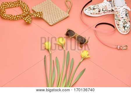 Summer Hipster style.Design Spring Fashion girl clothes set, accessories.Trendy sunglasses, floral hipster gumshoes. Fashion Handbag clutch, spring flower.Summer Urban woman look.Perspective view