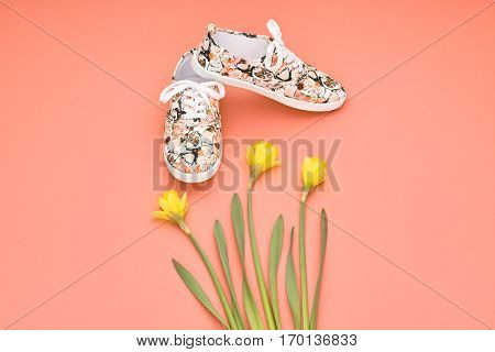 Summer Hipster style. Design Spring Fashion girl clothes set, accessories. Trendy floral gumshoes.Summer hipster shoes, spring yellow flowers. Summer Urban woman Minimal look. Perspective view