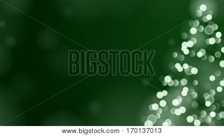 Christmas Tree Unfocused Blurred Lights on the Dark Wide Green Background with an Empty Space for a Text Message