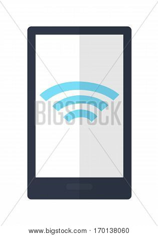 Mobile phone with wireless sign icon isolated. Wireless connectivity concept. Setting wifi connection. Wifi symbol on smartphone. Editable items in flat style. Accessories for work in office. Vector