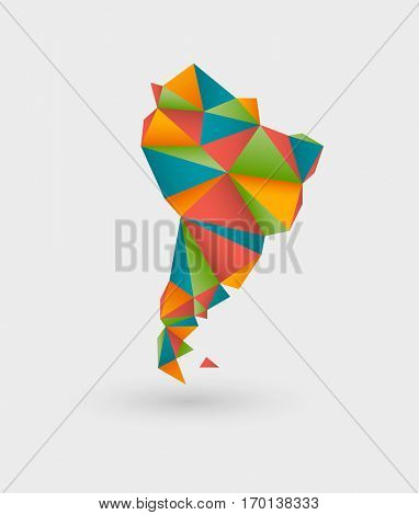 Colorful origami style map made of triangles outlining south america
