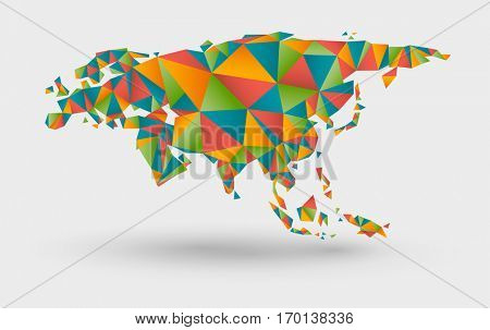 Colorful origami style map of europe and asia