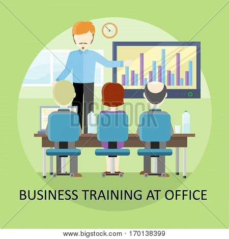 Lecture concept vector. Flat design. Business training at office. Man holding seminar near monitor with infographic. Certification training. Illustration for educational companies, career course ad.