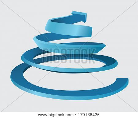 Three dimensional spiral with an upward movement and arrow on the top